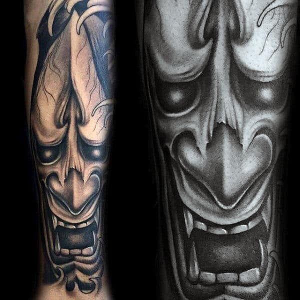 3d Mens Hannya Mask Sleeve Tattoo On Inner Forearm