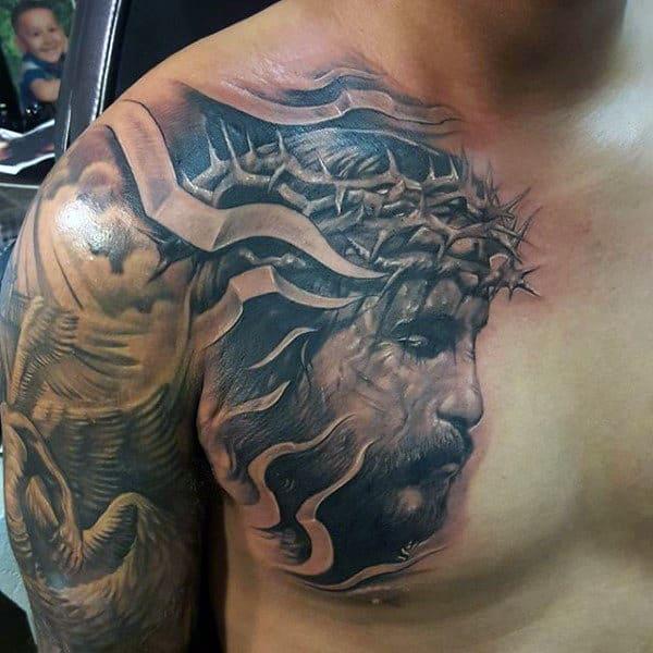 3d Mens Jesus Chest Tattoos