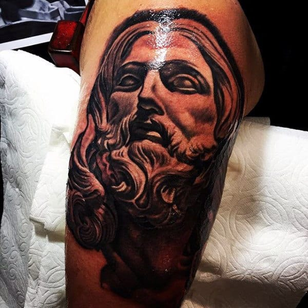 3d Mens Jesus Thigh Tattoos