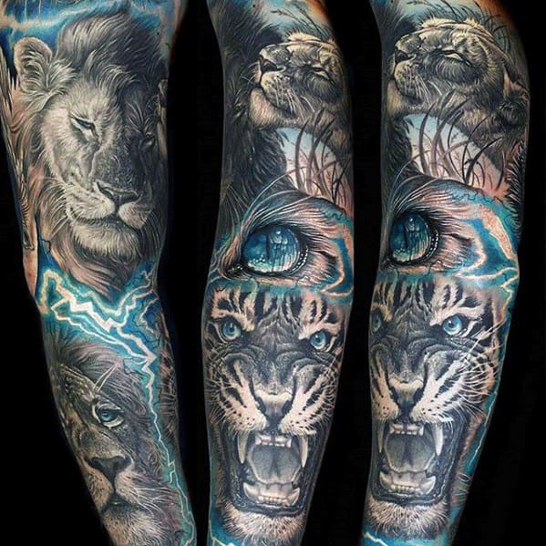 3d Mens Lion And Tiger Electric Blue Ink Sleeve Tattoo