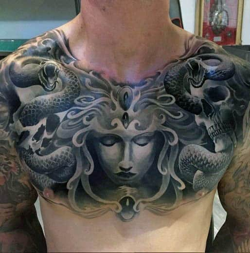3d Mens Medusa Chest Tattoos