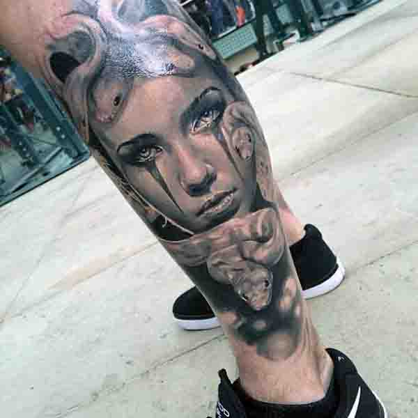 3d Mens Medusa Tattoo Leg Sleeve Design