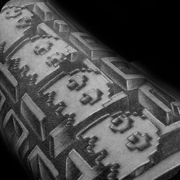 3d Mens Pacman Shaded Tattoo Sleeve