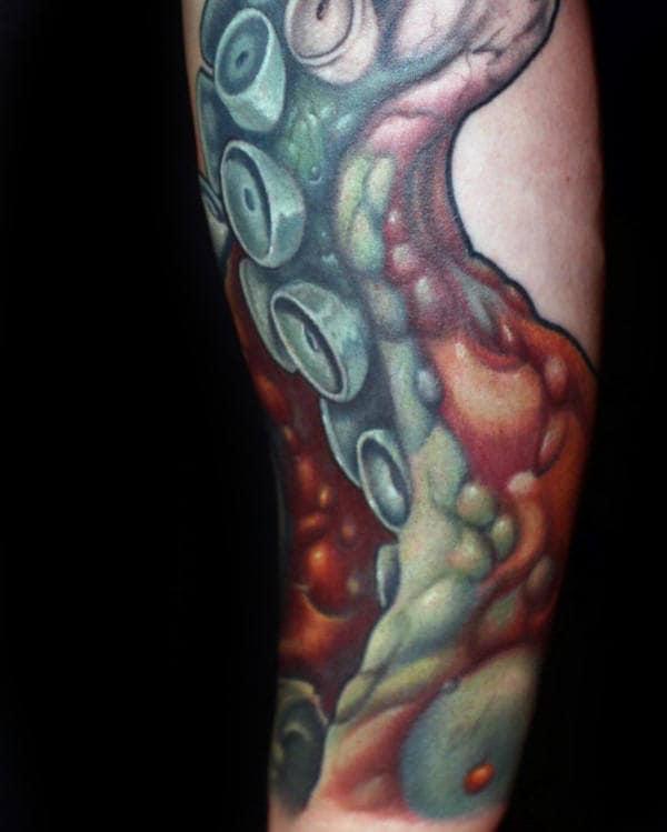 3d Mens Realistic Kraken Tentacle Sucker Tattoos