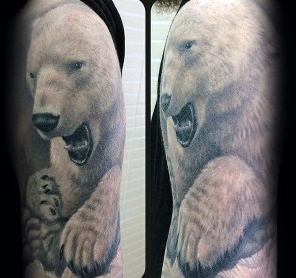 3d Mens Realistic Polar Bear Half Sleeve Tattoos