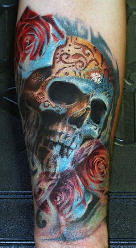 3d-mens-realistic-sugar-skull-tattoos-on-wrist