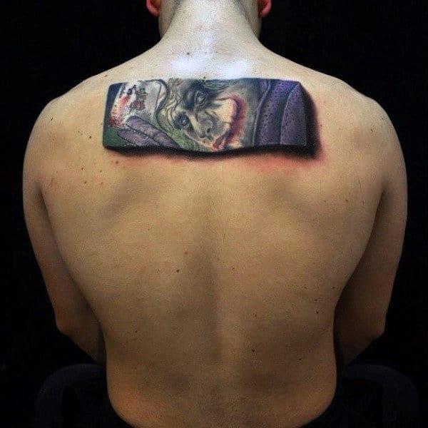 3d Mens Rectangular Joker Upper Back Tattoos