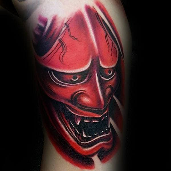 3d-mens-red-ink-hannya-mask-bicep-tattoos