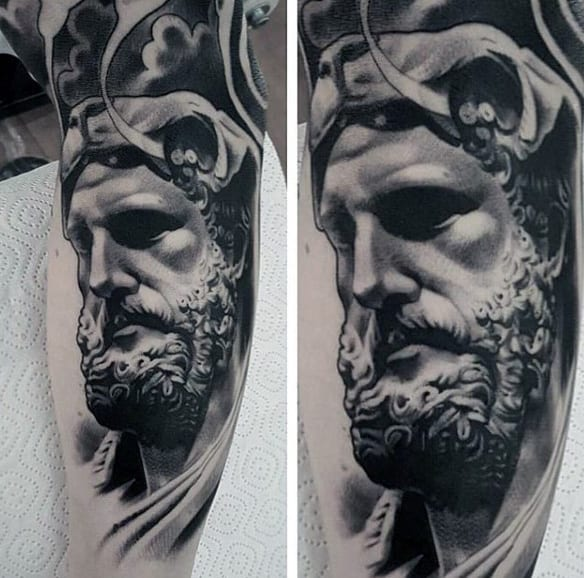 3d Mens Shaded Chicano Inner Arm Greek God Male Tattoo Ideas