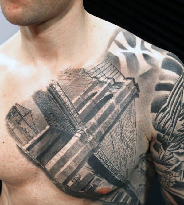 3d Mens Shaded New York City Brooklyn Bridge Chest Tattoo