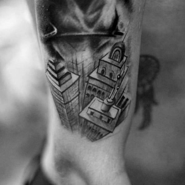 3d Mens Sketched Skyline Wrist Tattoos