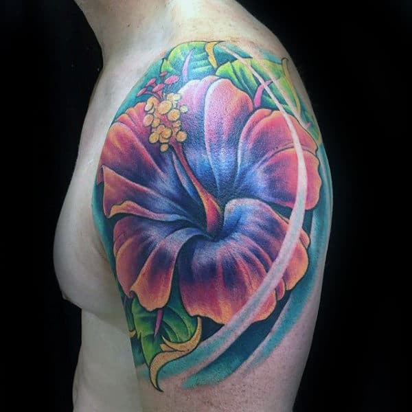 3d Mens Upper Arm Hibiscus Flower Tattoo Design Inspiration