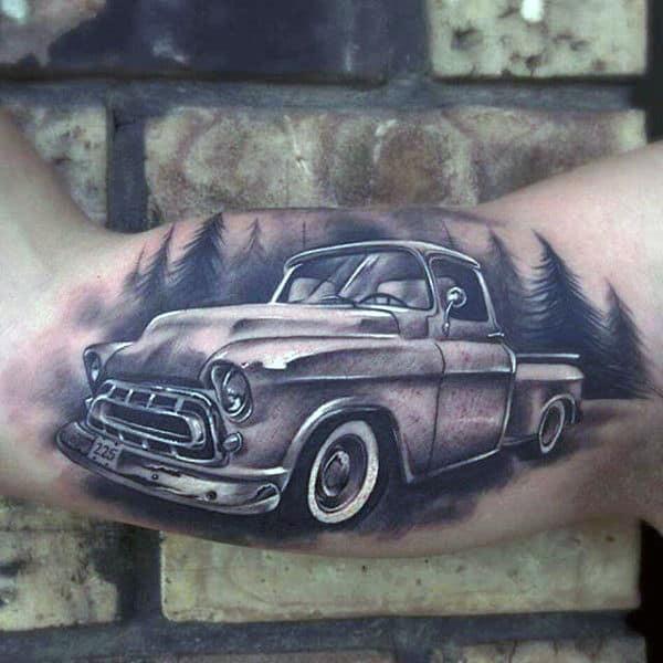 3d Mens Vintage Truck Bicep Inner Arm Tattoos