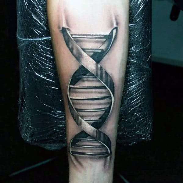 3d Metal Dna Strand Tattoo Poking Into Skin Of Wrist