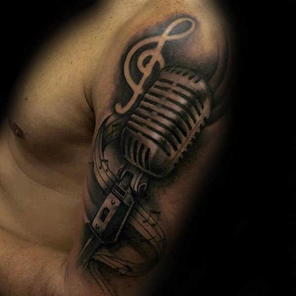 3d Metallic Mens Music Note Upper Arm Tattoo With Microphone