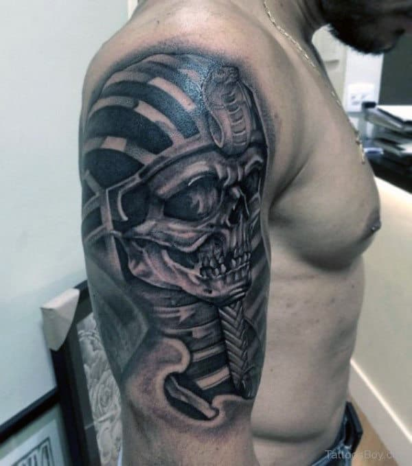 3d Metallic Skull King Tut Mens Half Sleeve Shaded Tattoo Designs