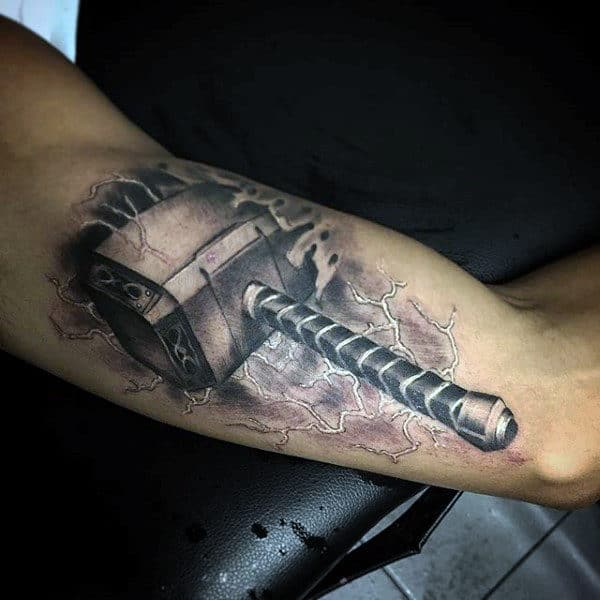 3d Mjolnir Mens Arm Tattoo Designs