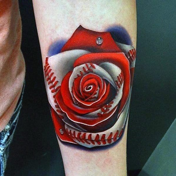 3d Morph Rose Flower Baseball Sports Tattoo Ideas On Guys