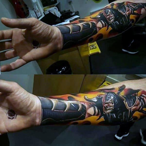 3d Mortal Kombat Forearm Sleeve Tattoos For Guys