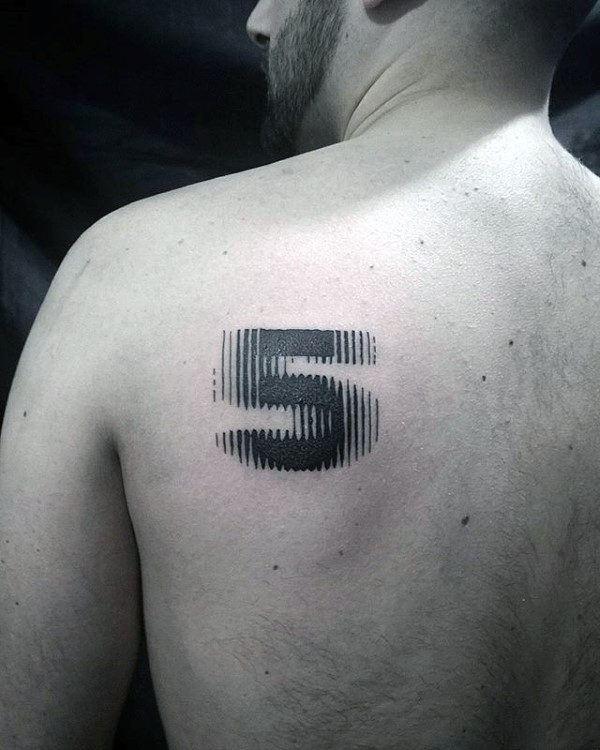 3d Moving Numbers Mens 5 Upper Back Tattoo Design