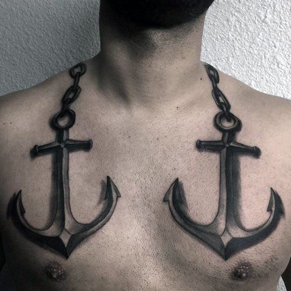 3d Nautical Anchors Tattoo On Mans Upper Chest Realistic Design