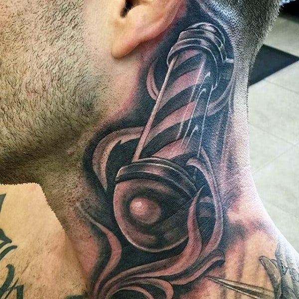 3d Neck Barbershop Pole Male Tattoo On Neck