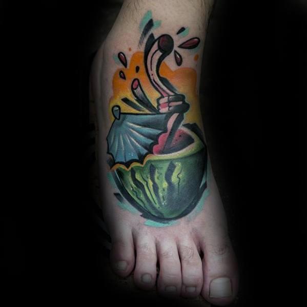 3d New School Foot Cool Male Watermelon Tattoo Designs