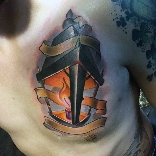 3d New School Upper Chest Male Lantern Tattoo Ideas