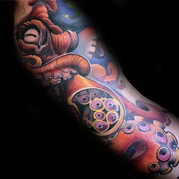 3d Octopus Tentacle Arm Tattoo On Gentleman
