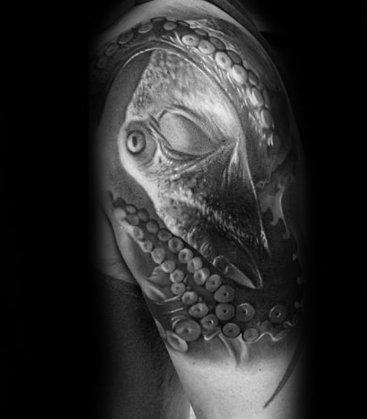 3d Octopus Tentacles Guys Upper Arm Realistic Tattoo Design Ideas