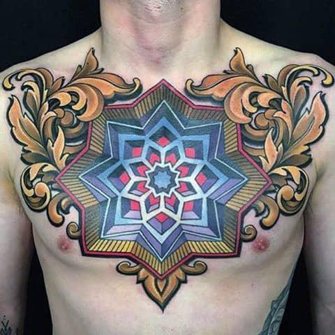 3d Optical Illusion Mens Filigree Geometrical Chest Tattoos