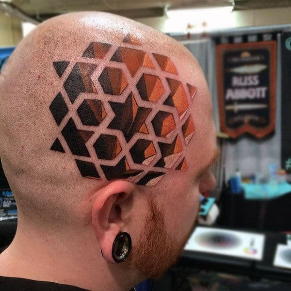 3d Optical Illusion Mens Head Tattoo With Star Pattern