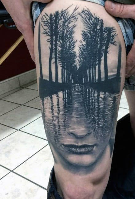 3d Optical Illusion Mens Thigh Tattoo Portrait With Trees And Water