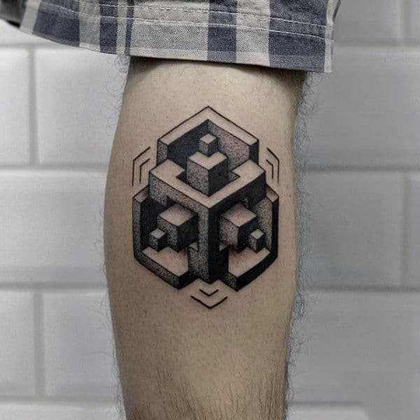 3d Optical Illusion Mens Unique Leg Calf Tattoos