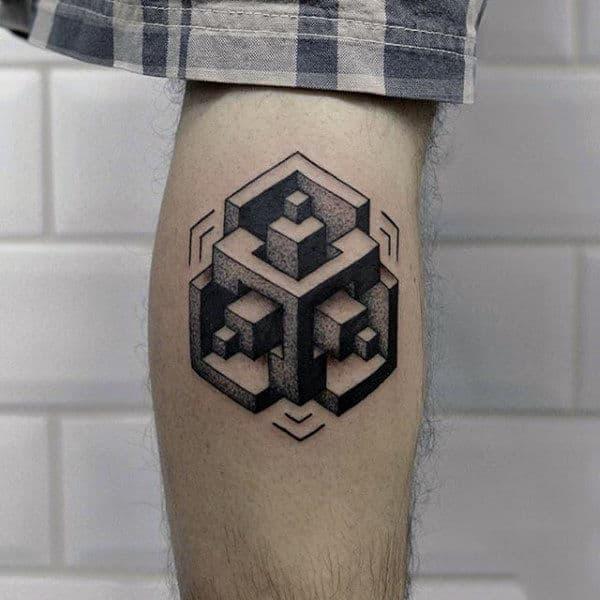 3d Optical Illusion Mens Unique Leg Calf Tattoos