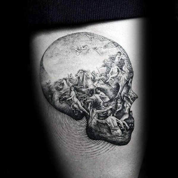 3d Ornate Detailed Skull Inner Forearm Tattoo For Men