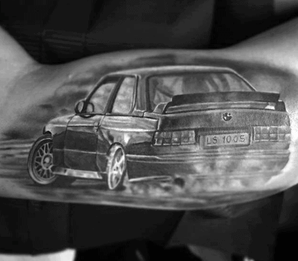 3d Outer Arm Bicep Bmw Tattoos For Men