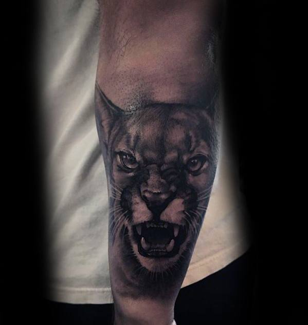 3d Outer Forearm Mountain Lion Tattoo Ideas For Males