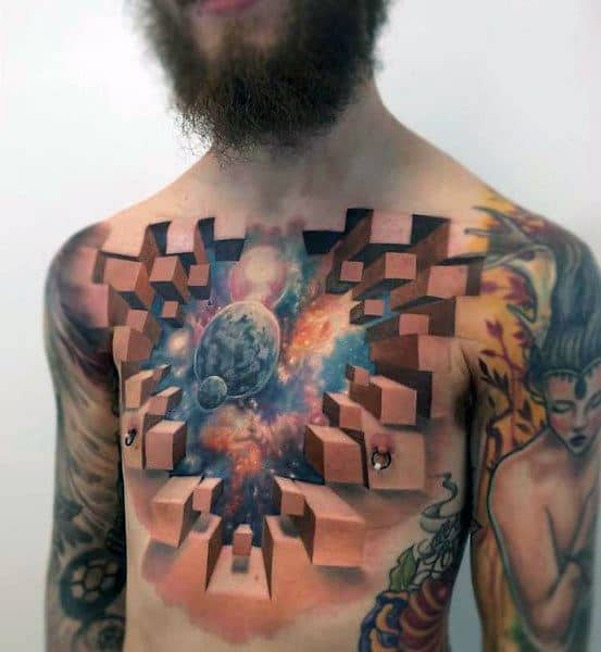 3d Outer Space Chest Coolest Tattoos
