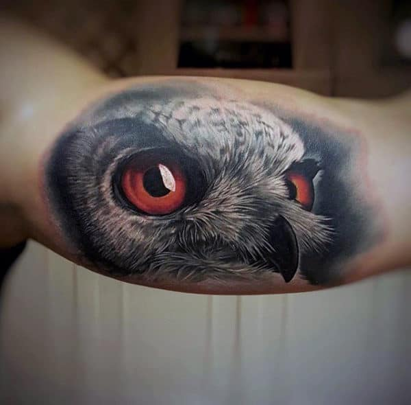 3d Owl Amazing Male Bicep Tattoo Design Inspiration