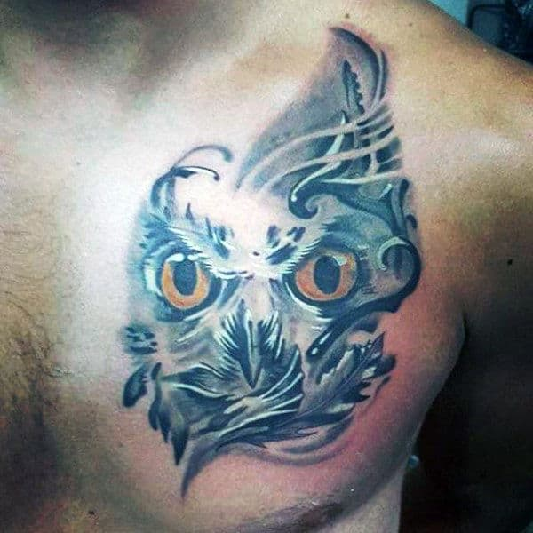 3D Owl Chest Tattoo For Men
