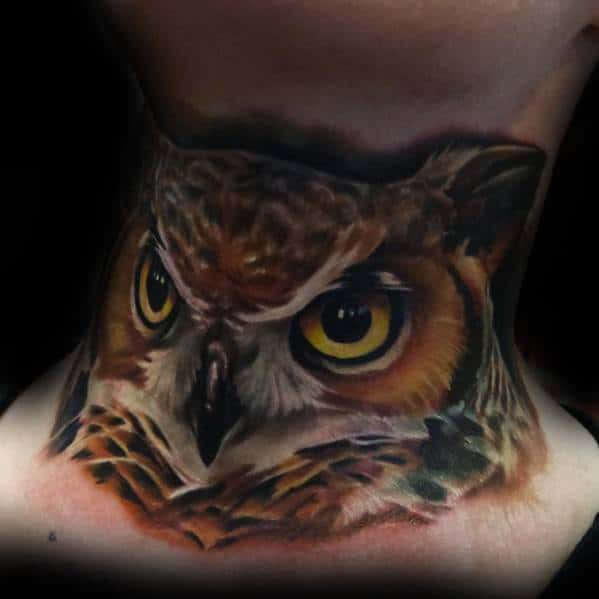 3d Owl Front Of Neck Tattoo Ideas For Males