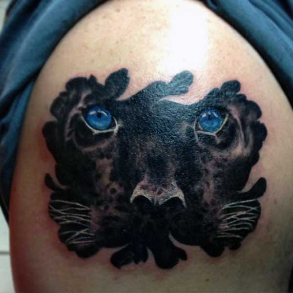 3d Panther Tattoos For Men With Blue Eyes On Upper Arm