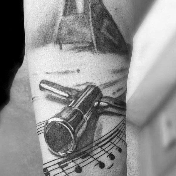 3d Piano Key Music Staff Mens Arm Tattoo Designs