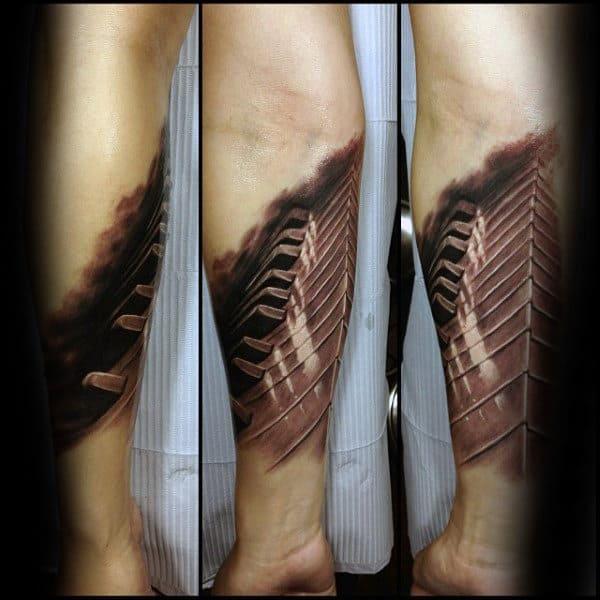 3d Piano Keys Mens Realistic Tattoo Design On Inner Forearm