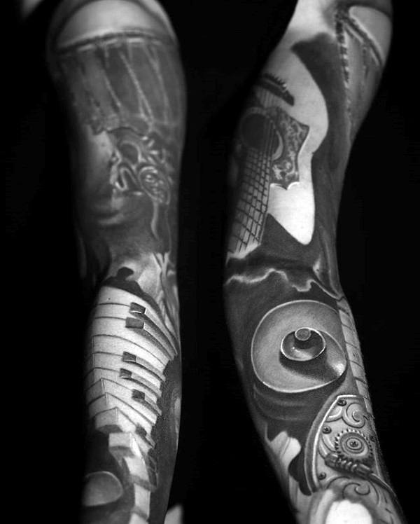 3d Piano Musical Themed Amazing Tattoo Sleeve Ideas For Guys
