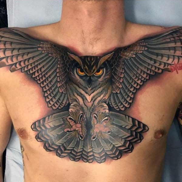 3d Piercing Eyes Mens Owl Tattoo On Chest