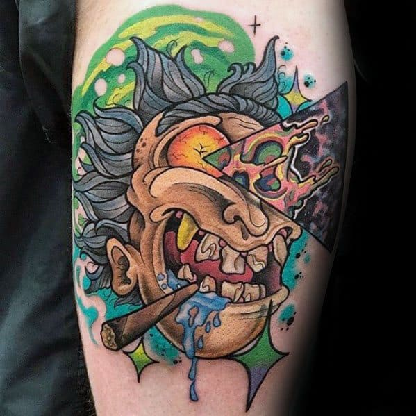 3d Pizza Rick And Morty Tattoo Design Ideas For Males On Thigh