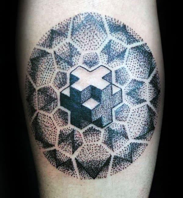 3d Plus Sign Mens Pointillism Arm Tattoo Ideas