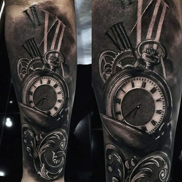 3d Pocket Watch Roman Numeral Great Male Forearm Sleeve Shaded Tattoo Ideas